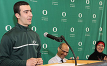 Husam speaks at his Signing Day